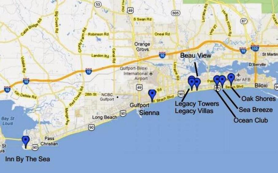 Biloxi and Gulfport, MS vacation rental condo map
