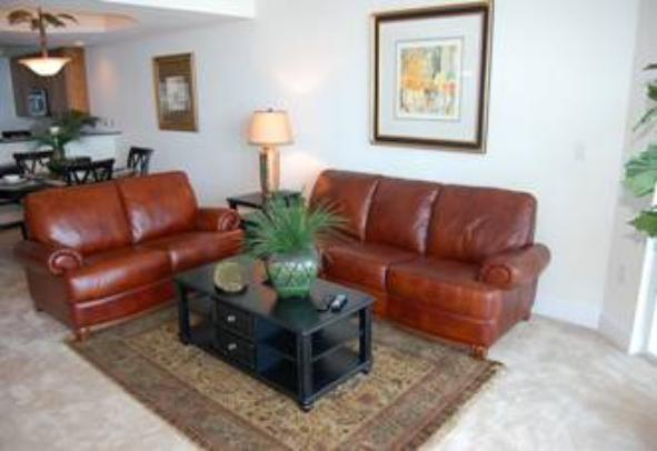 Living room of Beau View vacation rental condo in Biloxi