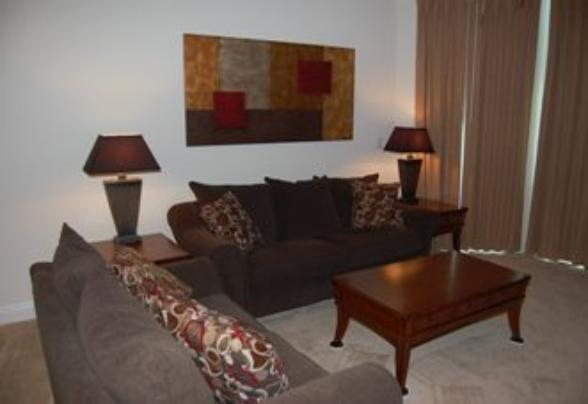 Living room of Beau View vacation condo rental in Biloxi